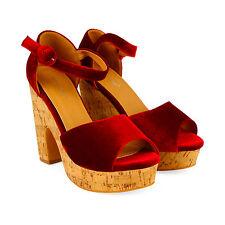 New Womens Open Toe High Heels Platform Ankle Strap Sandals Wedge Velvet Shoes