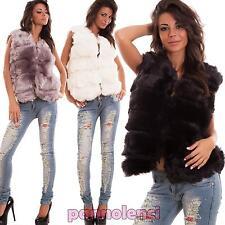 Gilet donna pelliccia ecologica giacchetto giubbotto giubbino sexy nuovo C-2353