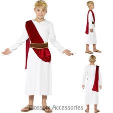 CK832 Boys Roman Ancient Greek Julius Caesar White Red Toga Fancy Dress Costume