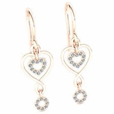 Natural 0.2ct Round Cut Diamond Ladies Heart Infinity Earrings 10K Gold