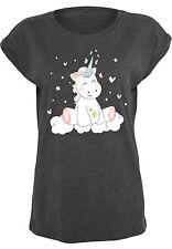 Mujeres Extended Shoulder Tee Camisa camiseta verano Unicorn Einhorn Cutie