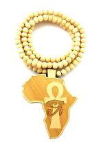 "Hip Hop ojo de África mapa Heru Forma Colgante 8 mm 36/"" Collar de Abalorios de Madera XJ243"