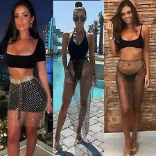 Women Bikini Cover Swimwear Fishnet Diamante Skirt Beach Wrap Sarong Pool Party