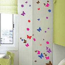 100 Butterfly Flower Art Children Wall stickers Car Decals-multi colour