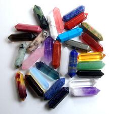 Natural Mixed Gemstone Hexagonal Point Reiki Chakra Healing Beads DIY Crafts 2pc