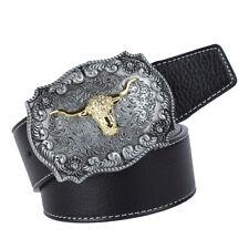 hommes western cowboy en cuir ceinture ceinture arabesque tête de vache 1b17208e59a