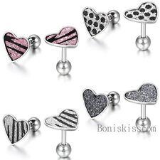 2Pcs Stainless Steel Zebra Leopard Design Heart-love Stud Earrings Girls Women's