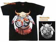 Biker T-shirt bufali cranio + BIKE, TG S, M, L, XL MOTO SKULL, indiani FREE RIDER