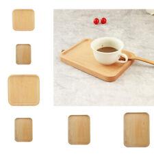 Natural Beech Serving Fruit Bread Plates Wooden Breakfast Dish Tea Bed Tray