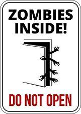 Zombies Interior Divertido Señal De Advertencia introduce a su propio riesgo Adhesivo Autoadhesivo