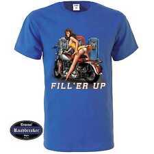 T-Shirt blu reale Vintage HD motivo Biker & oldschool M-XXL Modello Riempimento