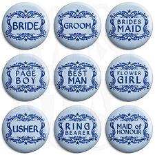 Wedding - Various Designs - Blue - 25mm Button Badge, Fridge Magnet Option