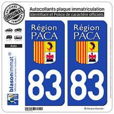 2 Stickers autocollant plaque immatriculation : 83 PACA LogoType