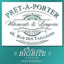 Shabby Chic STENCIL: French Pret-a-Porter Advert (Furniture Print Transfer) #039