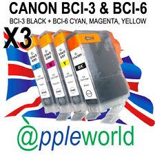 3 SERIE [ 12 Inchiostri ] Canon Cartucce d'inchiostro compatibili con BCI-3BK + BCI-6 C, M, Y