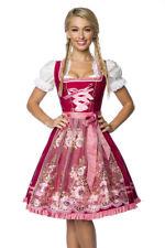 Premium Dirndl mit Stickereien und Schürze, rosa/rot Oktoberfest Trachtenkleid