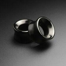 Stone Flesh Ear Tunnels | Black Onyx Double Flare Concave Stone Stretcher | SIBJ