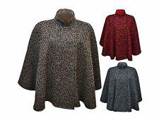 New Women Ladies Women Leopard Eight Button Cape Poncho Plus Size 16-28