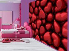 Beautiful 3D red metallic hearts girls bedroom wallpaper wall mural (60264641)