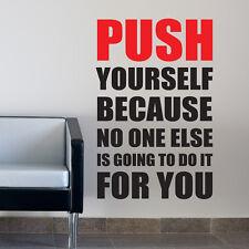 Druckstange selbst Wand Aufkleber Zitat anregend Fitnessstudio Sport W152