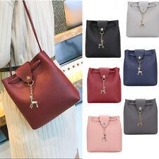Women Bucket Bag Handbag Tassel Drawstring Messenger PU Leather Crossbody Bags