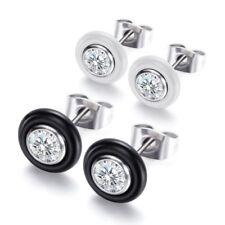 White/Black Ceramic Round Cut CZ Earrings Mens Women's Stainless Steel Ear Studs