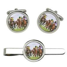 Horse Racing Cufflinks and Tie Clip Set