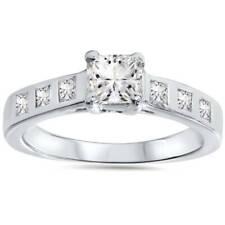 1ct Real  Princess Cut Bezel Real Diamond Engagement Ring 14K White Gold