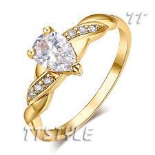 TT 18K Gold Plated Tear Drop Engagement Wedding Ring Size 7-9 (RF55J)