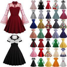 Damen Rockabilly Petticoat Retro Kleid 50er Jahre Vintage Partykleid Abendkleid