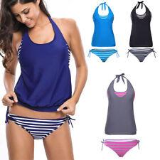 2PC Striped Yoga Sport Blouson Tankini Top Bikini Beach Swimsuit Swimwear S-2XL