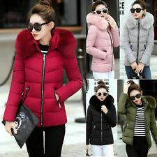 Women Winter Coats Short Fur Collar Parka Hooded Jacket For Female Cotton Winter