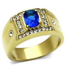 715 MENS  MANS SIGNET OVAL SAPPHIRE STUD DESIGNER RING SIMULATED DIAMONDS GOLD