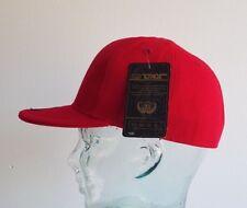 KB ETHOS FITTED PLAIN CAPS FLAT PEAK BNWT  HIP HOP SNAPBACK/BASEBALL CAP RED