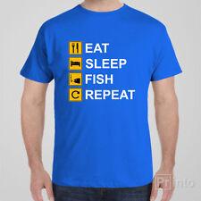 Funny T-shirt EAT SLEEP FISH REPEAT fishing cool novelty tee shirt
