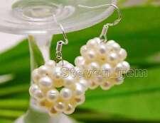 Weaving Round Ball dangle Earring-ear478 Big 18-20mm White 4-5mm Pearl handwork