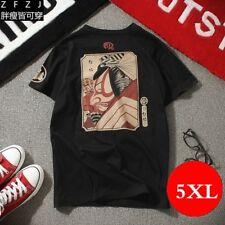 Herren Japanisch T-Shirt Übergröße Sommer Harajuku bedrucktes Oberteile 5XL