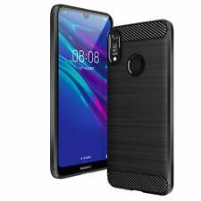 Huawei Y6 2019 Etui Housse Coque protection Silicone Fibre de carbone [Noir]