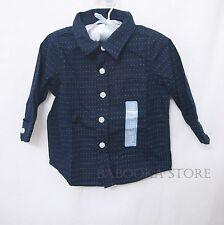 Baby Gap Boys Button Down Shirt Navy Holiday Party Photoshoot Shirt 6-24 mos NWT