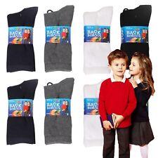 Soxy® 12 Pairs Kid's Boys Girls Cotton Rich Plain Ankle School Socks Children's