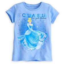 Disney Store Cinderella Dreams Girls Princess T Shirt Art Tee Size 4 5/6 7/8 NWT