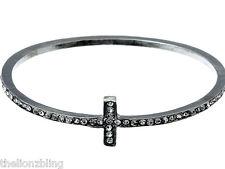 Urban Bohemian Fashion Silver Cross Bangle Bracelet with Clear Crystal Bling