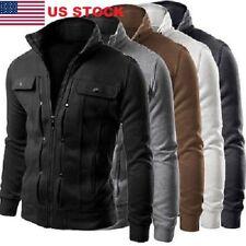 USA Men's Slim Fit Stand Collar Coat Tops Military Jacket Winter Outwear Blazer