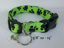 Charming Lime Green Black Paws Terri's Dog Collar custom made adjustable & charm