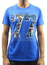 Star Wars 77 Bold Art Logo Blue Heather Men's T-Shirt New
