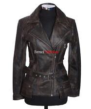 Diaz Rust Black Ladies Womens Retro Casual Designer Real Lambskin Leather Jacket