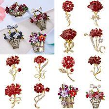Women Carnations Flower Basket Crystal Enamel Brooch Pin Jewelry Mother's Gifts