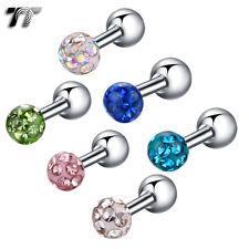 TT 4mm Ball Surgical Steel Crystal Ball Cartilage Trag Earrings (TR15)