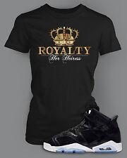 Ladies Royalty T Shirt to Match Air Jordan 6 Shoe Graphic Fashion Black SS Tee