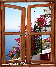 Sticker mural fenêtre trompe l'oeil déco Fleur réf 761